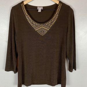 Chicos travelers brown embellished neckline top M